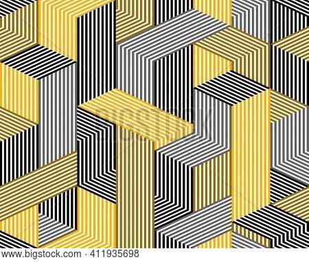 3D Dimensional Lined Cubes Seamless Pattern, Geometric Endless Texture With Lines And Boxes, Archite