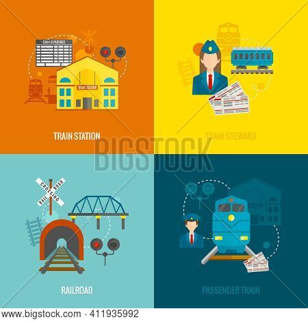 Railway Design Concept Set With Train Station Steward Railroad Passenger Flat Icons Isolated Vector