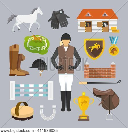 Jockey Decorative Icons Flat Set With Horse Grooming Brush Champion Trophy Isolated Vector Illustrat