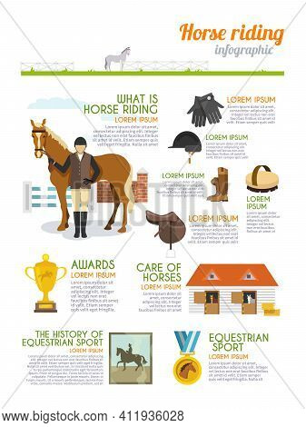 Jockey Infographics Set With Horse Rider Equestrian Sport Signs Vector Illustration