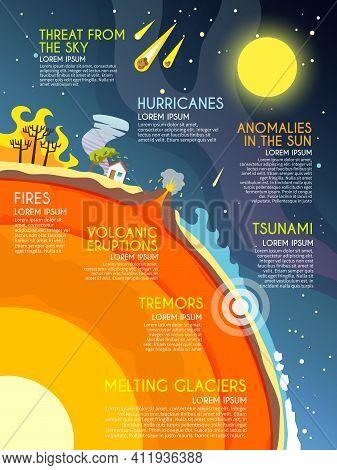 Natural Disaster Infographics Set With Fires Volcanic Eruption Melting Glaciers Elements Vector Illu