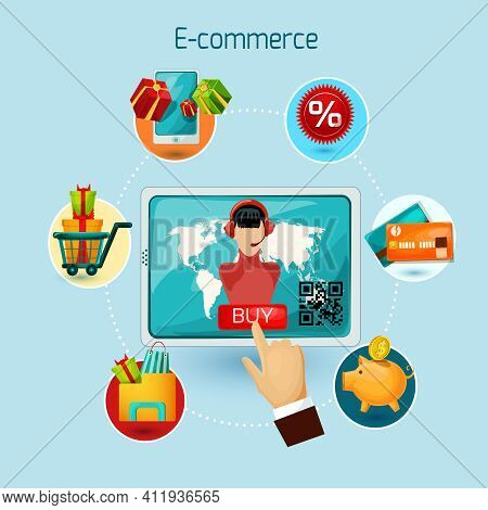 E-commerce Concept With Tablet Computer And Online Shopping Decorative Icons Set Vector Illustration