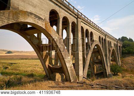 Historic Rosalia Railroad Bridge. The Concrete Railroad Bridge In The Palouse Valley. Rosalia, Washi