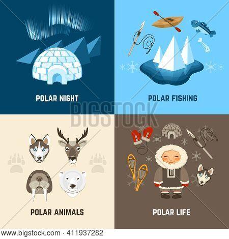 Chukchi Design Concept Set With Polar Night Fishing Animals And Life Flat Icons Isolated Vector Illu