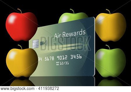 Apples Are Seen With An Air Rewards Credit Card. Some Air Miles Rewards Can Be Used During The Covid