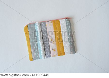 Pastel Quilted Patchwork Zipper Pouch Over White