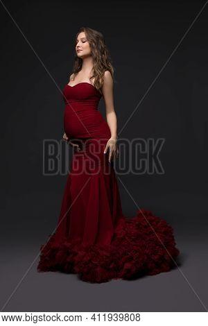 Elegant Pregnant Woman In Dress In Studio