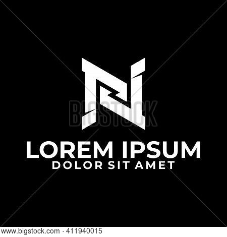 Initial Letter N Logo Template With Sporty Geometric Simple Cut Bold Illustration In Flat Design Mon