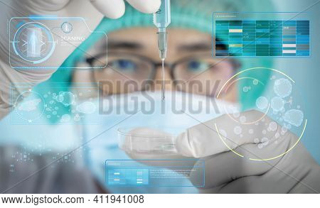 A Man In A Scientist's Uniform Was Injecting A Germicidal Tray. The Idea Of Inventing A Vaccine To T