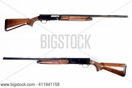 Fort Worth,texas- Feb. 2021  Closeup Of A A5 Browning Sweet 16 In16 Guage Shotgun Front And Back Sid