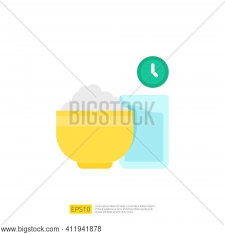 Iftar Food Icon For Muslim And Ramadan Theme Concept. Vector Illustration
