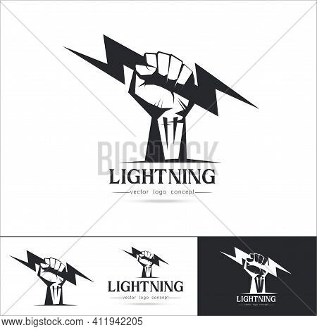 Set Of Logo Template Fist Hand Holding  Thunder Bolt. Zeus And Power Concept Isolated On White Backg