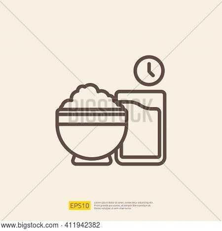 Iftar Food Line Icon For Muslim And Ramadan Theme Concept. Vector Illustration
