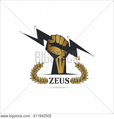 Logo Template Fist Hand Holding  Thunder Isolate With Olive Branch With Thunder Symbol Of Greek God