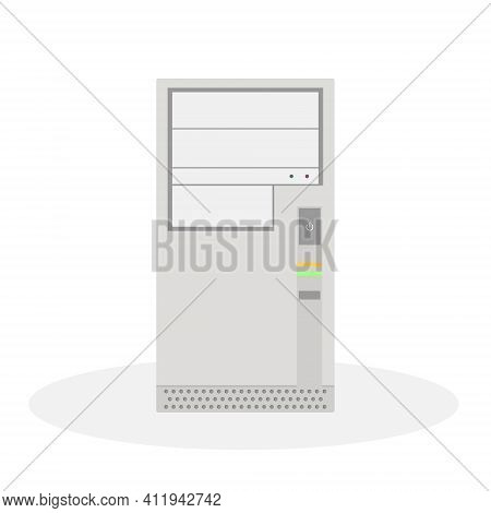 An Outdated Computer System Unit In Gray Tones With Operation Indicators. Flat Vector Illustration