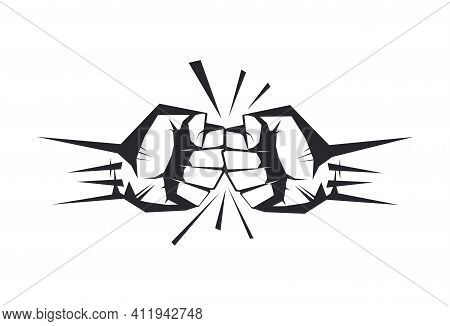 Two Clenched Fists Bumping Together. The Concept Of Conflict, Confrontation, Resistance, Competition