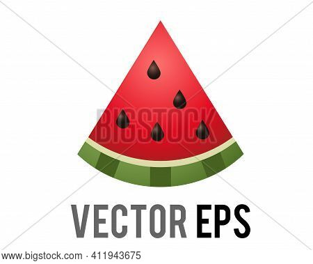Slice Of Vector Red Watermelon Icon, Showing Red Pink Flesh, Black Seeds And Green Rind.