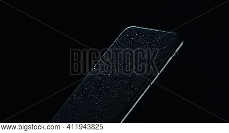 Touchscreen Mobile Phone New Technology Touch On Dark Background