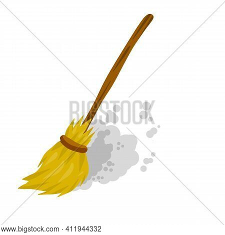 Broom. Rustic Item For House Cleaning. Sweeping And Old Wooden Mop In Wooden Handle. Element Of Witc