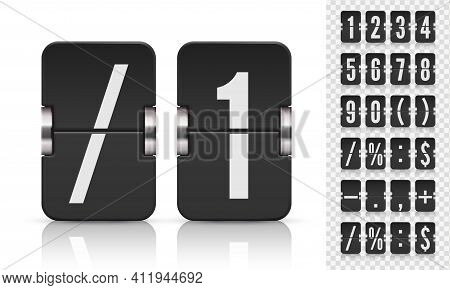 Scoreboard Set Flip Numbers And Symbols With Reflections For Dark Countdown Timer. Vector Template I