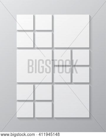 Vector Template Collage Fifteen Frame, Image Photo