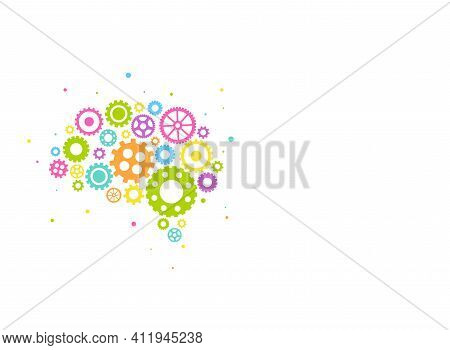 Bright Brain Made Of Colorful Gears And Wheels Icon Isolated On White Background. Combination Of Pin