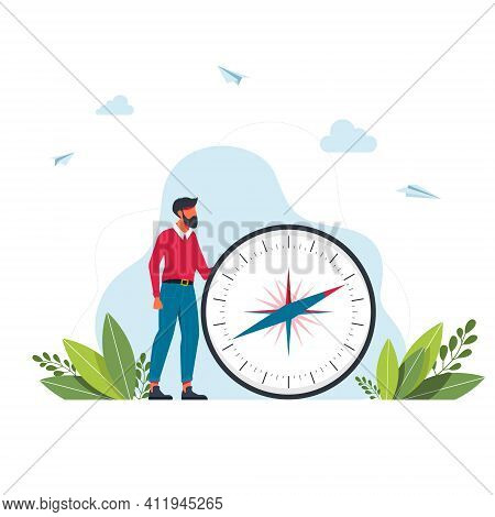 Vector Illustration Of Man Is Holding A Big Compass In Her Hands. Cartography Orienteering, Navigati