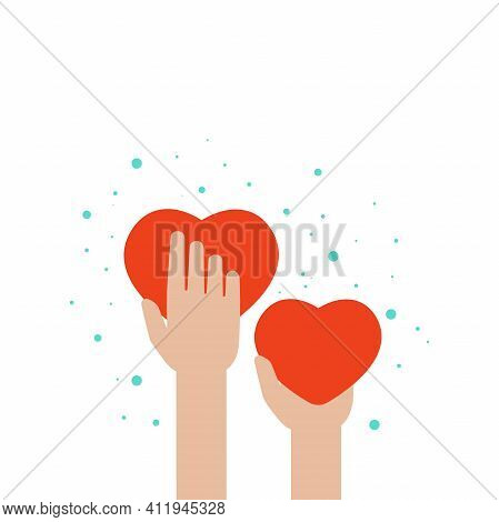 Hands Holding Red Hearts On White Background. Worldwide On-line Help And Support Concept. Charity, P