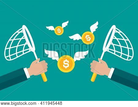 Businessman Hands With Butterfly Net Chase Gold Dollar Coins. Competition, Marketing Concept. Catch,