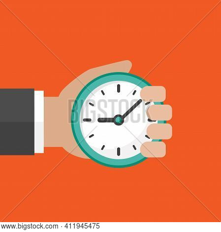 Hand With Blue Clock Isolated On Red Background. Fast Time Stop Watch, Limited Offer, Deadline Symbo
