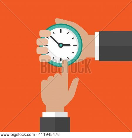 Businessman Hand With Clock And Pointing Hand On Orange Background.time Watch, Limited Offer, Deadli