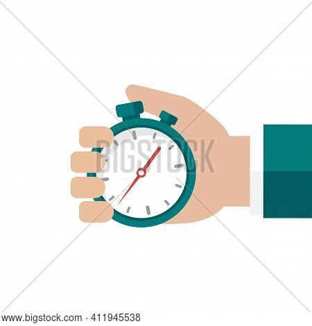 Hand With Blue Stopwatch Isolated On White Background. Fast Time Stop Watch, Limited Offer, Deadline
