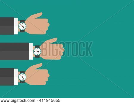 Three Hands With Watch Isolated On Blue Background. Businessman With Time Watch, Limited Offer, Dead