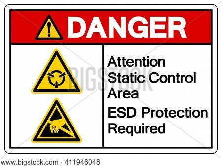 Danger Attention Static Control Area Esd Protection Required Symbol Sign, Vector Illustration, Isola