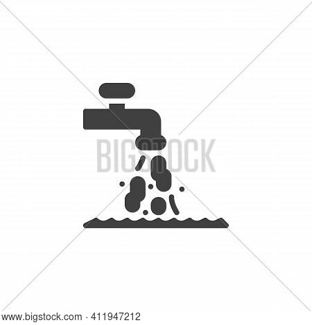 Dirty Tap Water Vector Icon. Filled Flat Sign For Mobile Concept And Web Design. Dirty Drinking Wate