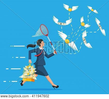 Running Businesswoman With Butterfly Net Chasing Money Is Flying In Air. Dollar Banknotes And Gold C
