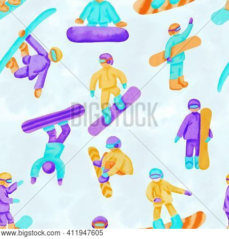 Seamless Pattern With Snowboarders. Hand Drawn Watercolor Cartoon Illustration.