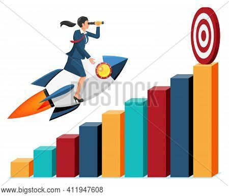 Successful Business Woman Flying On Rocket On Graph Going Up To Target. Businesswoman On Flying Spac