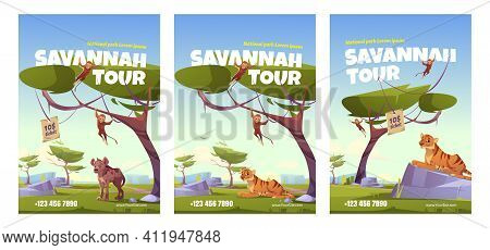 Savannah Tour Poster With African Landscape With Tiger, Monkey And Jackal. Vector Flyer Of Exotic Tr