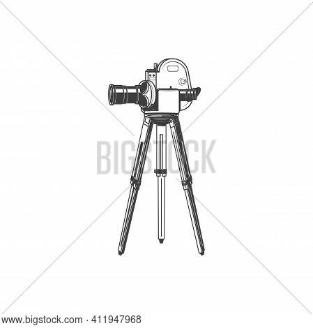 Retro Movie Camera On Tripod Isolated Monochrome Icon. Vector Film Projector, Motion Picture Symbol.