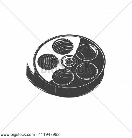 Film Reel With Cinema Tape Isolated Monochrome Icon. Vector Filmstrip, Photo And Video Tape In Roll.