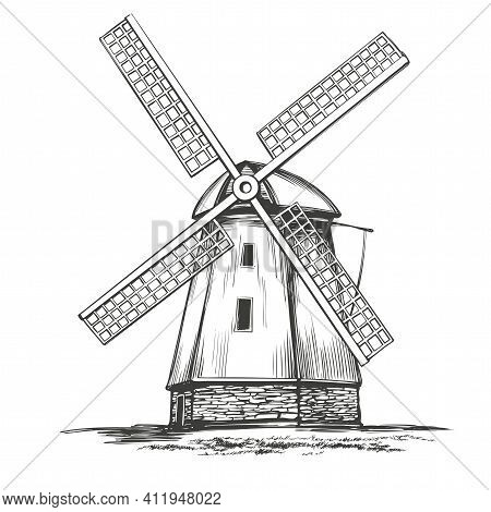 Old Windmill, Architectural Vintage Building Hand Drawn Vector Illustration Realistic Sketch
