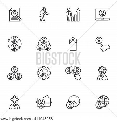 Headhunting Line Icons Set, Outline Vector Symbol Collection, Linear Style Pictogram Pack. Signs, Lo