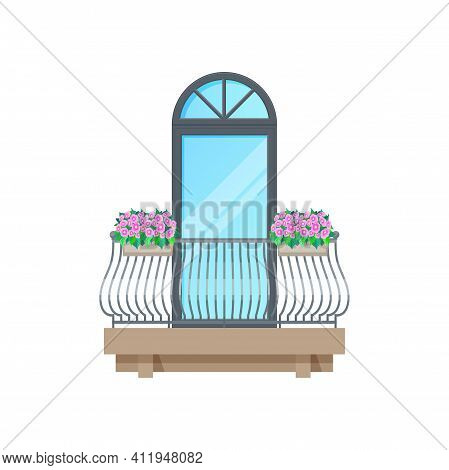 Balcony Window With Classic Fence Or Old Railing, Vector Vintage Building Architecture. House Balcon