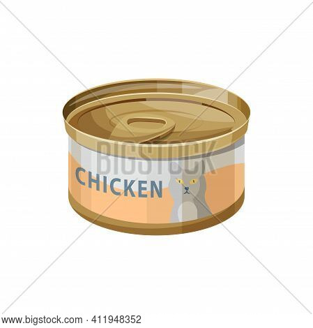 Cat Food, Wet Canned Chicken Meat In Jelly, Vector Flat Icon. Cat Eating Dish Or Treat And Nutrition