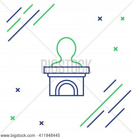 Line Stage Stand Or Debate Podium Rostrum Icon Isolated On White Background. Conference Speech Tribu