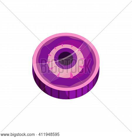 Halloween Round Caramel Candy With Zombie Eye Isolated Trick Or Treat Dessert. Vector Purple Sucker,