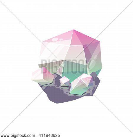 Violet Amethyst, Purple Gem Stone Isolated Crystal Icon. Vector Precious Diamond Crystal, Jewelry De