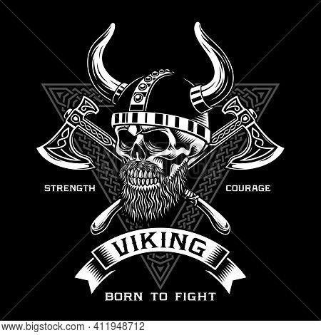 Bearded Viking Warrior Skull With Crossed Axes Vector Illustration
