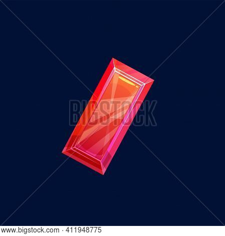 Red Magic Crystal, Gem Or Precious Rock, Vector Icon. Mineral Crystalline Stone Of Rectangular Shape